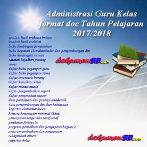 Silahkan Lengkapi Administrasi Guru Kelas format doc Tahun Pelajaran 2017/2018