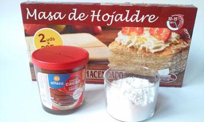 ingredientes bocaditos de hojaldre con nocilla