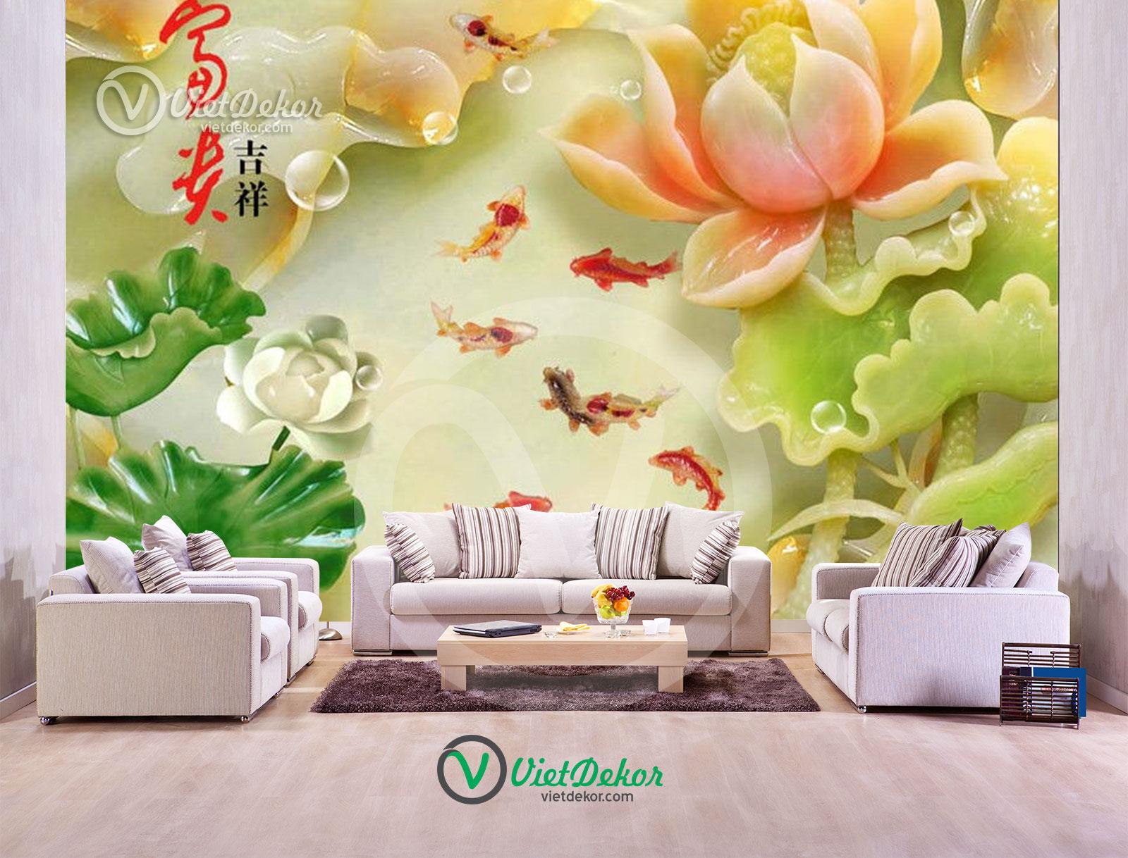 Tranh dán tường 3d hoa sen cửu ngư ngọc