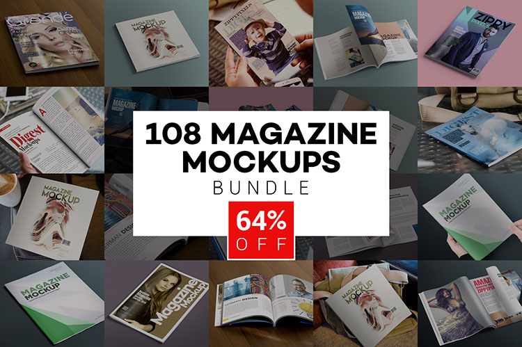 108 Beautiful Magazine Mockups Bundle