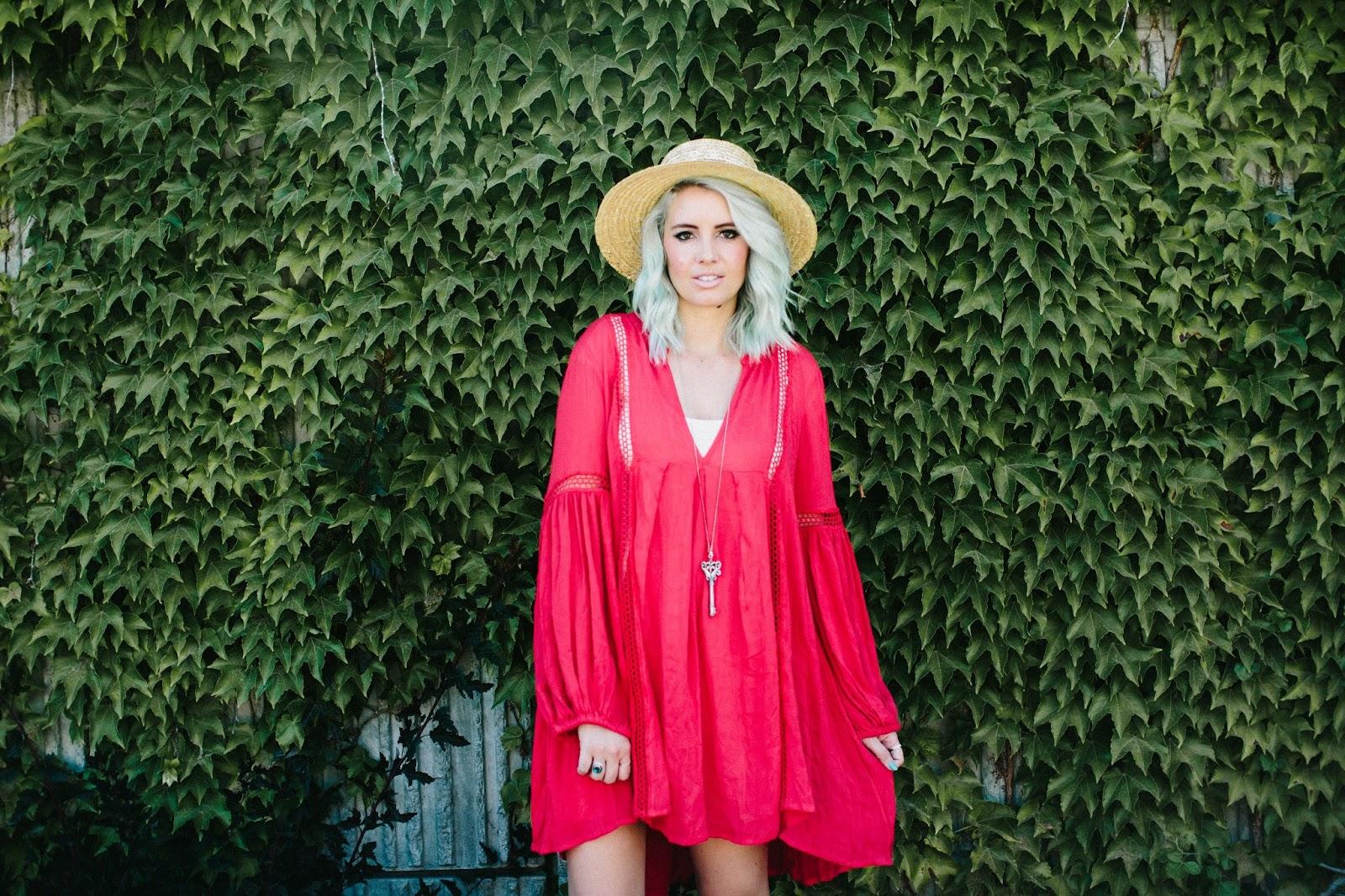 Free People, Red Dress, Boho