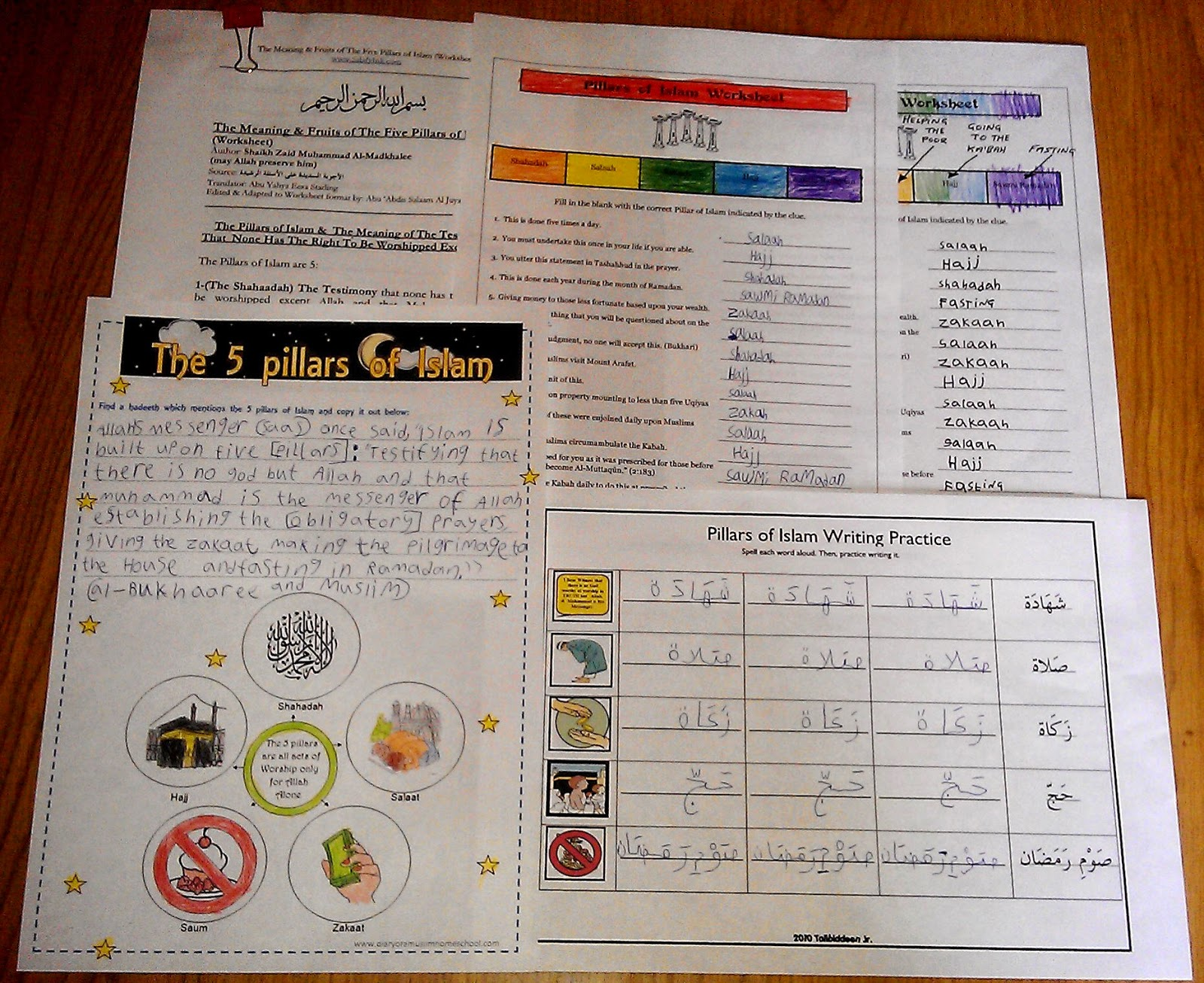 Iman S Home School Pillars Of Islam Review Assorted Worksheets
