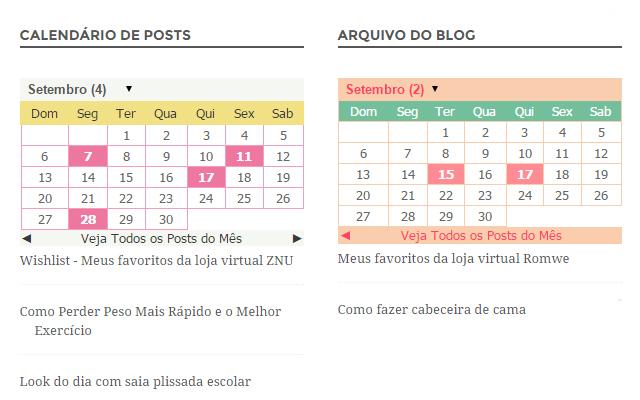 Arquivo do blog em formato calendário