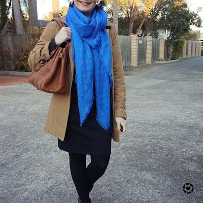 awayfromblue instagram | cobalt blue louis vuitton monogram shawl scarf with black pencil skirt trench coat