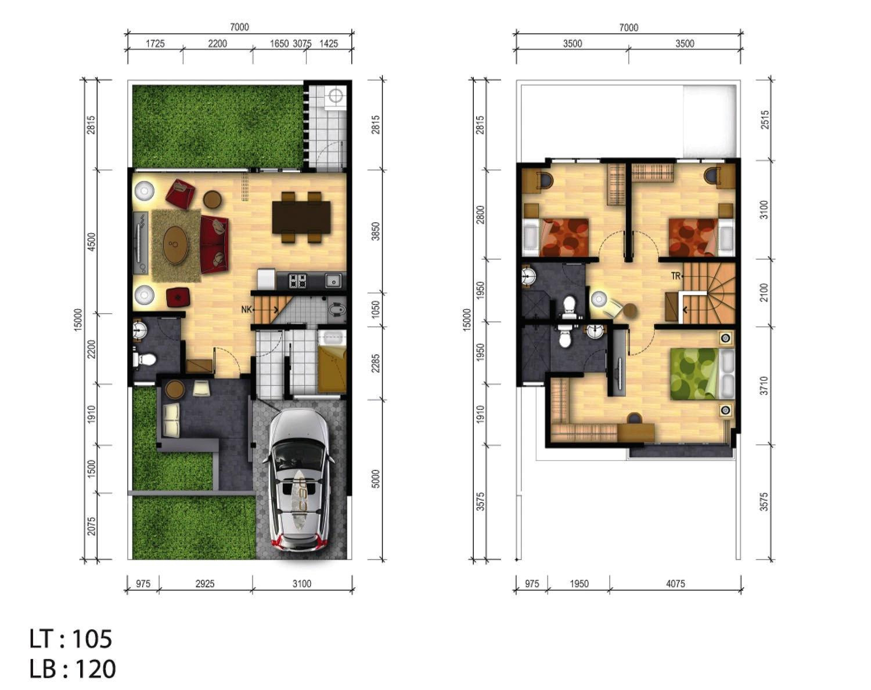 Denah Rumah Tipe 70 Minimalis 2 Lantai