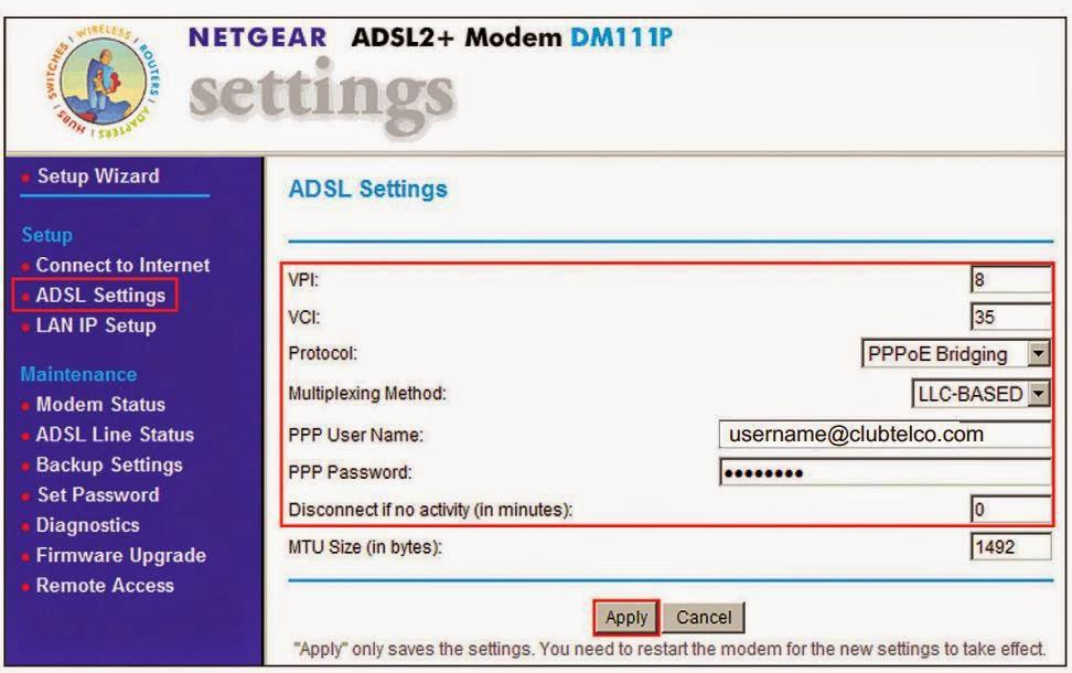 Clubtelco Netgear ADLS Settings: