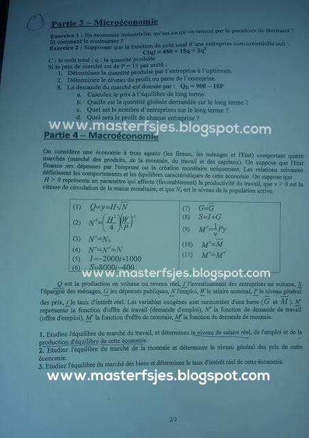 Exemple de Concours Master Économétrie Statistique et Modélisation Appliquées (ESMA) 2016-2017 - Fsjes Souissi