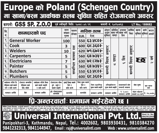 Jobs in Poland Europe for Nepali, Salary Rs 71,672