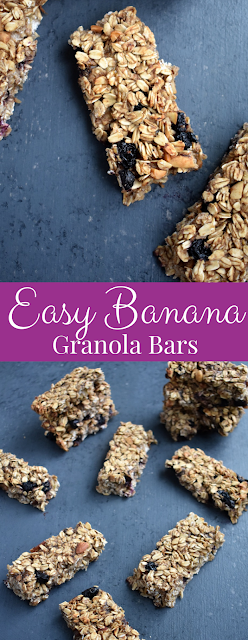 Easy Banana Granola Bars have zero added sugar and are loaded with fiber, whole-grains and protein for a healthy snack that kids and adults will love! They are vegan, dairy-free and gluten-free. www.nutritionistreviews.com #bananas #snack #healthy #granolabars #cleaneating #oats
