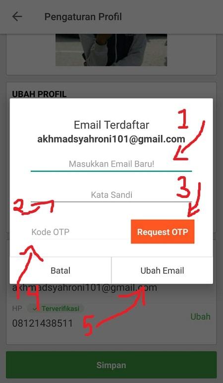 Isi Form Penggantian Email (Tokopedia)