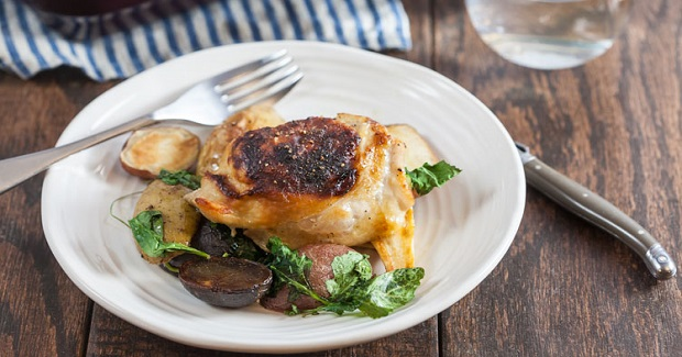 Honey Mustard Chicken Thighs With Parsnips And Crispy Kale Recipe