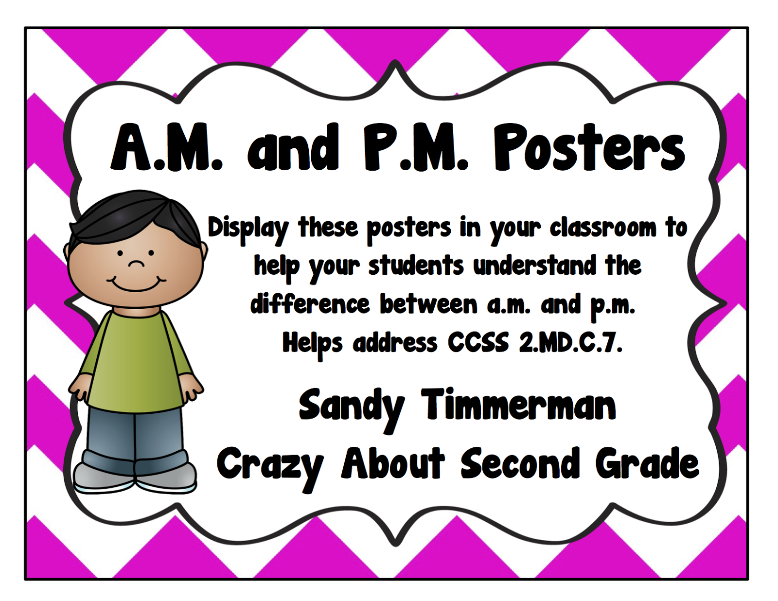 Crazy About Second Grade A Little Telling Time A M P M Freebie