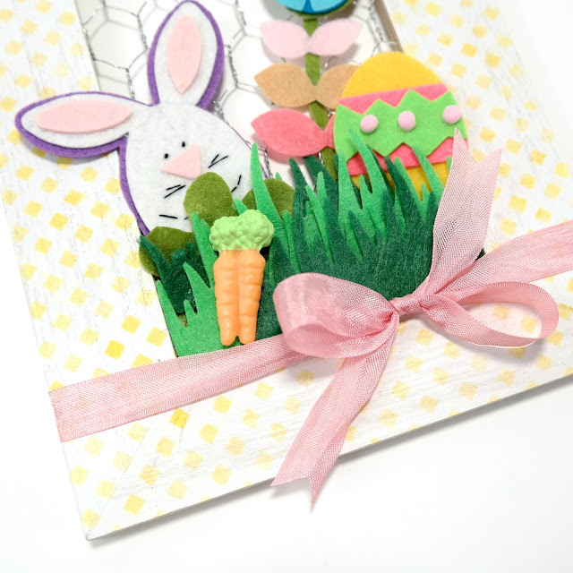 How-to-Decorate-a-Wood-Frame-for-Easter-with-Ribbon-and-Felt-Shapes