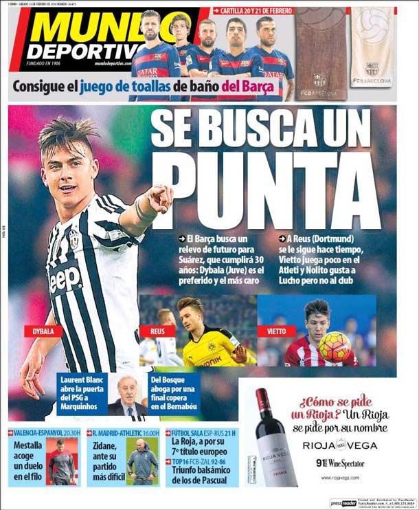 Portada del periódico Mundo Deportivo, sábado 13 de febrero de 2016