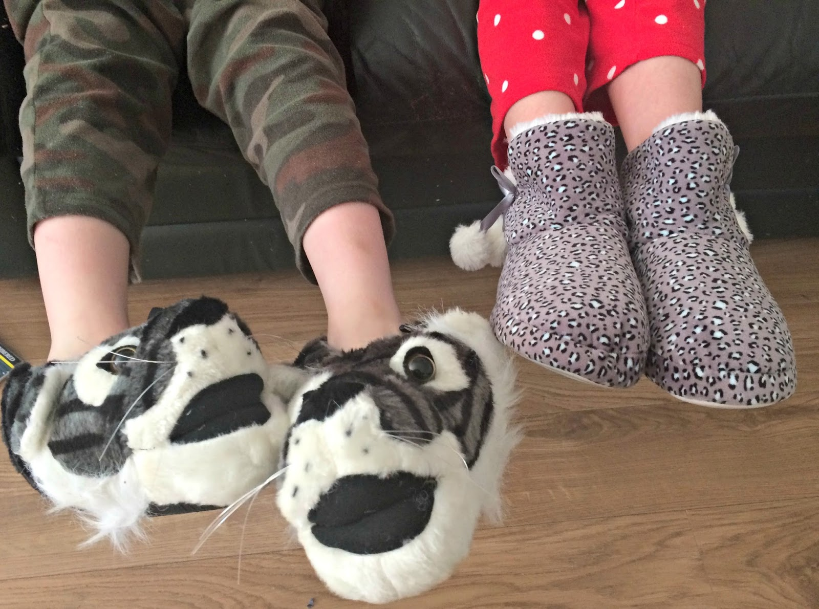 Caitlin & Ieuan wearing slippers from Wynsors World of Shoes