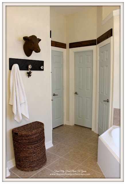 Sherwin Williams Sea Salt -Doors-Farmhouse Master Bathroom- From My Front Porch To Yours