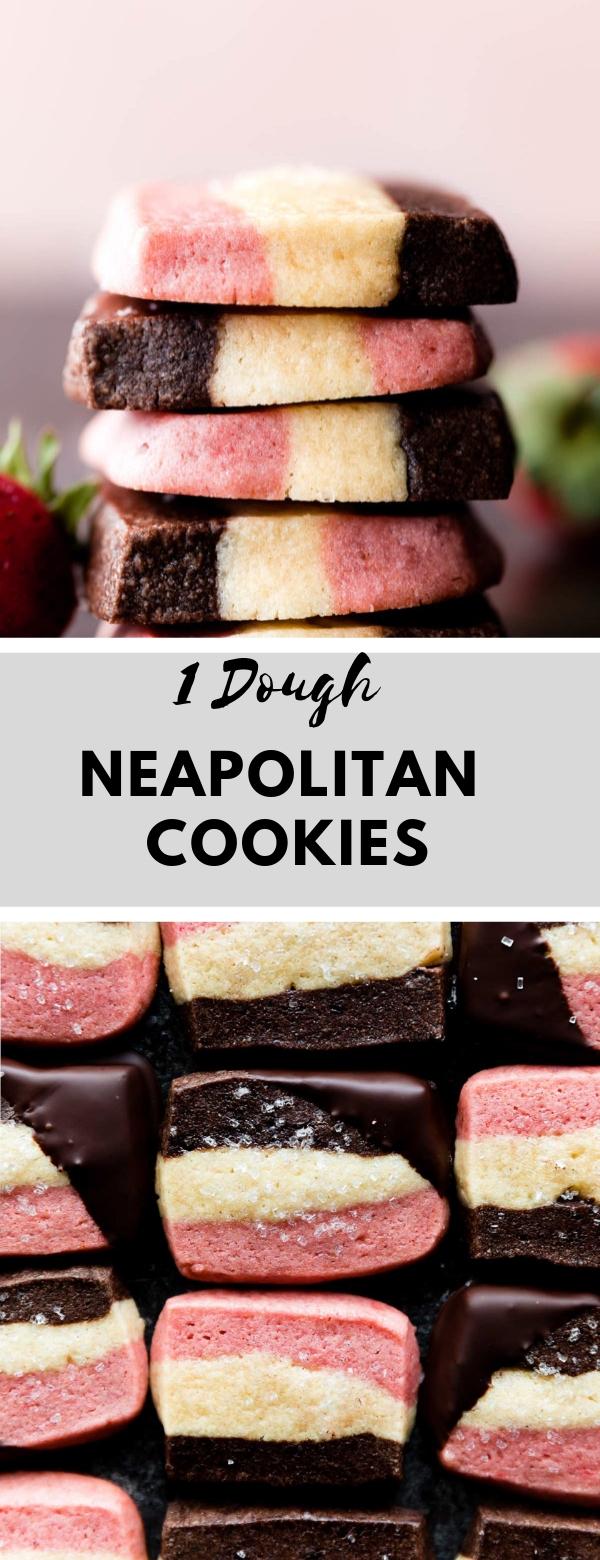 1 Dough Neapolitan Cookies #cookiedough #cookies #snack