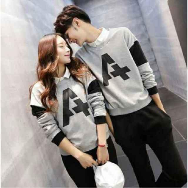 Baju Kaos Couple Andhani Warna Abu simple dan elegan