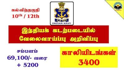 Indian Navy Recruitment for 3400 Sailors SSR, MR, AA 2019 Batch