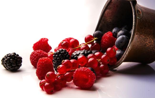 Varietà di frutti di bosco: mora, lampone, ribes, mirtillo rosso