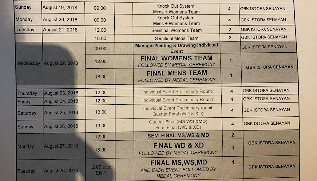 Jadwal Bulu Tangkis Asian Games 2018