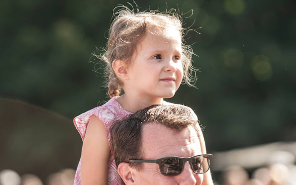 Princess Marie, Prince Joachim, Prince Henrik and Princess Athena at  2016 Tønder Festival concert. Princess Marie Chloe blouse