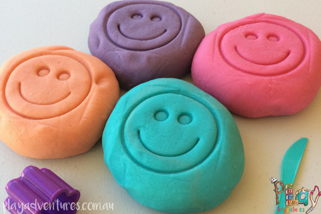 Freshly made play dough in 4 colours