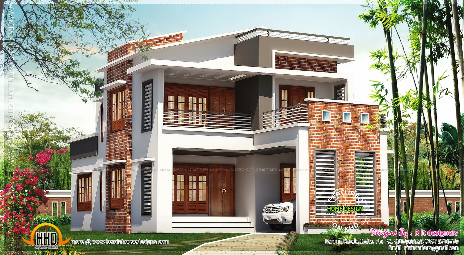 Brick mix house exterior design kerala home design and for Front exterior home designs