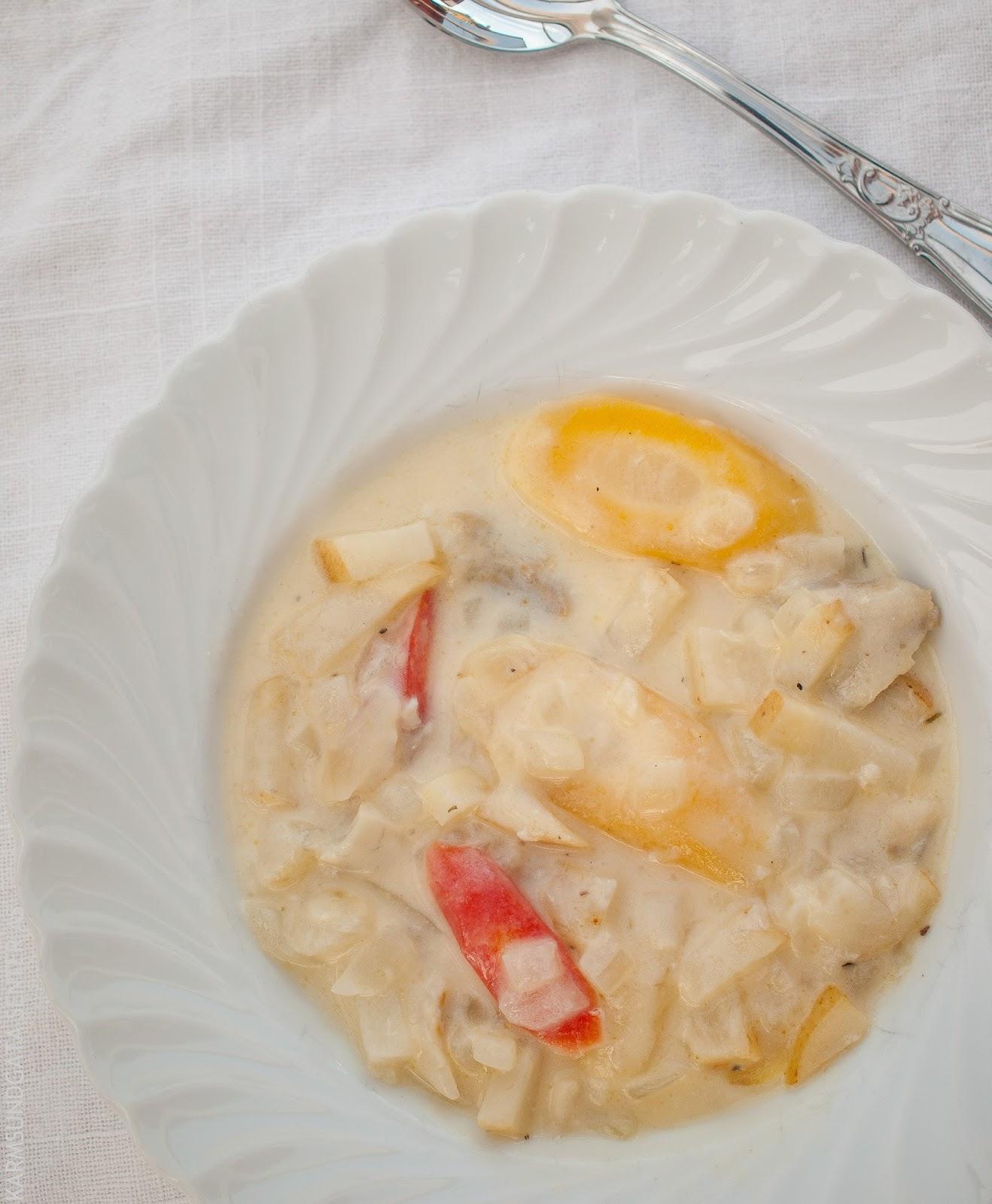 Nem fiskesuppe av torsk eller sei med gulrøtter og selerirot