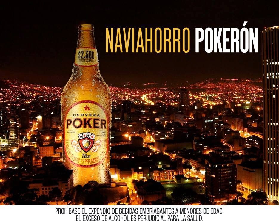 A bottle of Poker towering above Bogotá D.C. It is the tipple of choice for many in the city