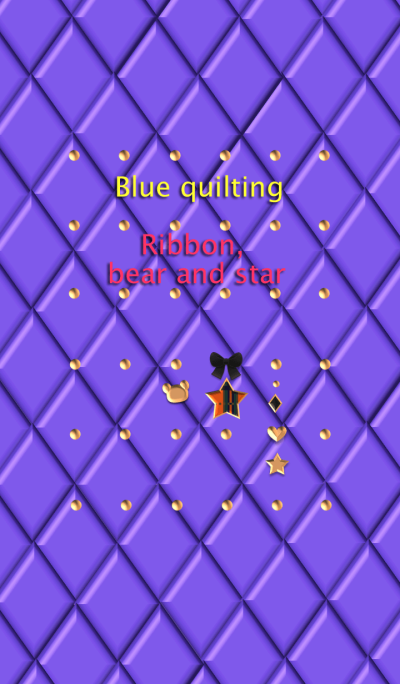 Blue quilting(Ribbon, bear and star)