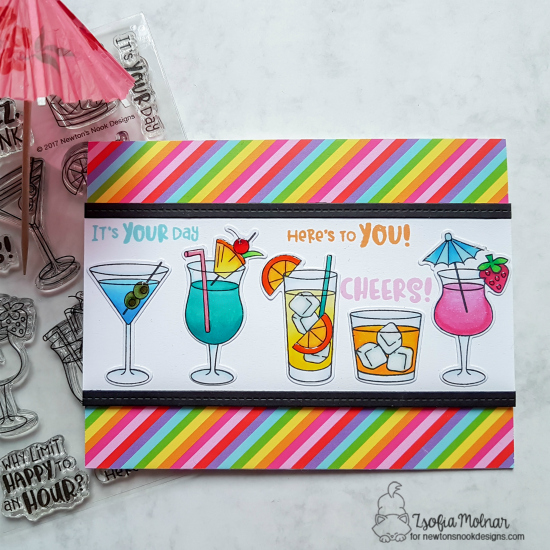 Summer Cocktails Card by Zsofia Molnar | Cocktail Mixer Stamp Set by Newton's Nook Designs #newtonsnook #handmade
