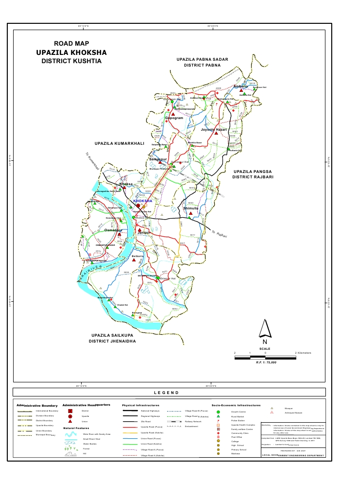 Khoksa Upazila Road Map Kushtia District Bangladesh