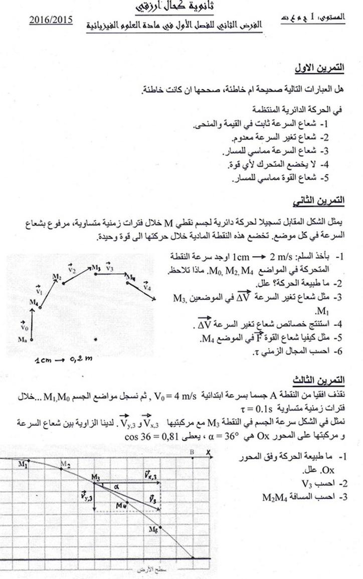 الفرض الثاني للفصل الأول في مادة الفيزياء سنة أولى ثانوي شعبة علوم وتكنولوجيا