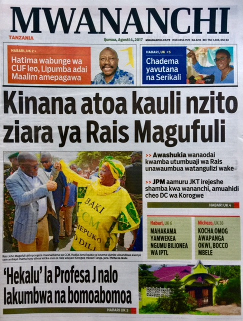 Today's Tanzania daily Newspapers Aug 4 , 2017