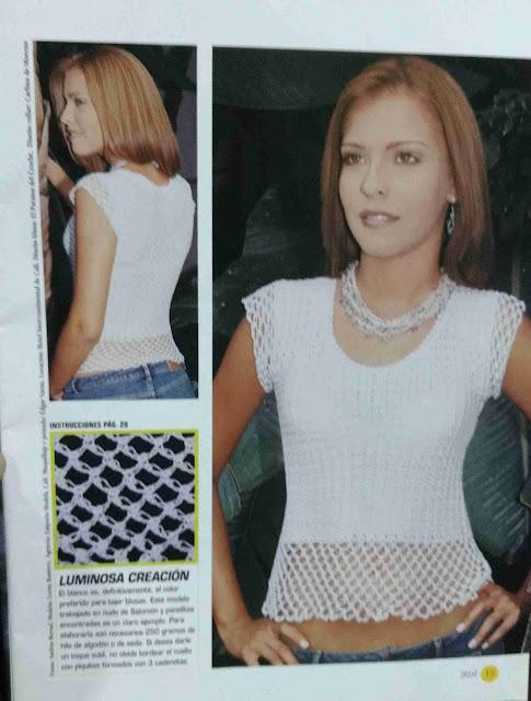 Patrón #1728: Blusa Blanca a Crochet