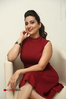 Telugu Tollywood Anchor Manjusha Pos in Red Short Dress  0042.JPG