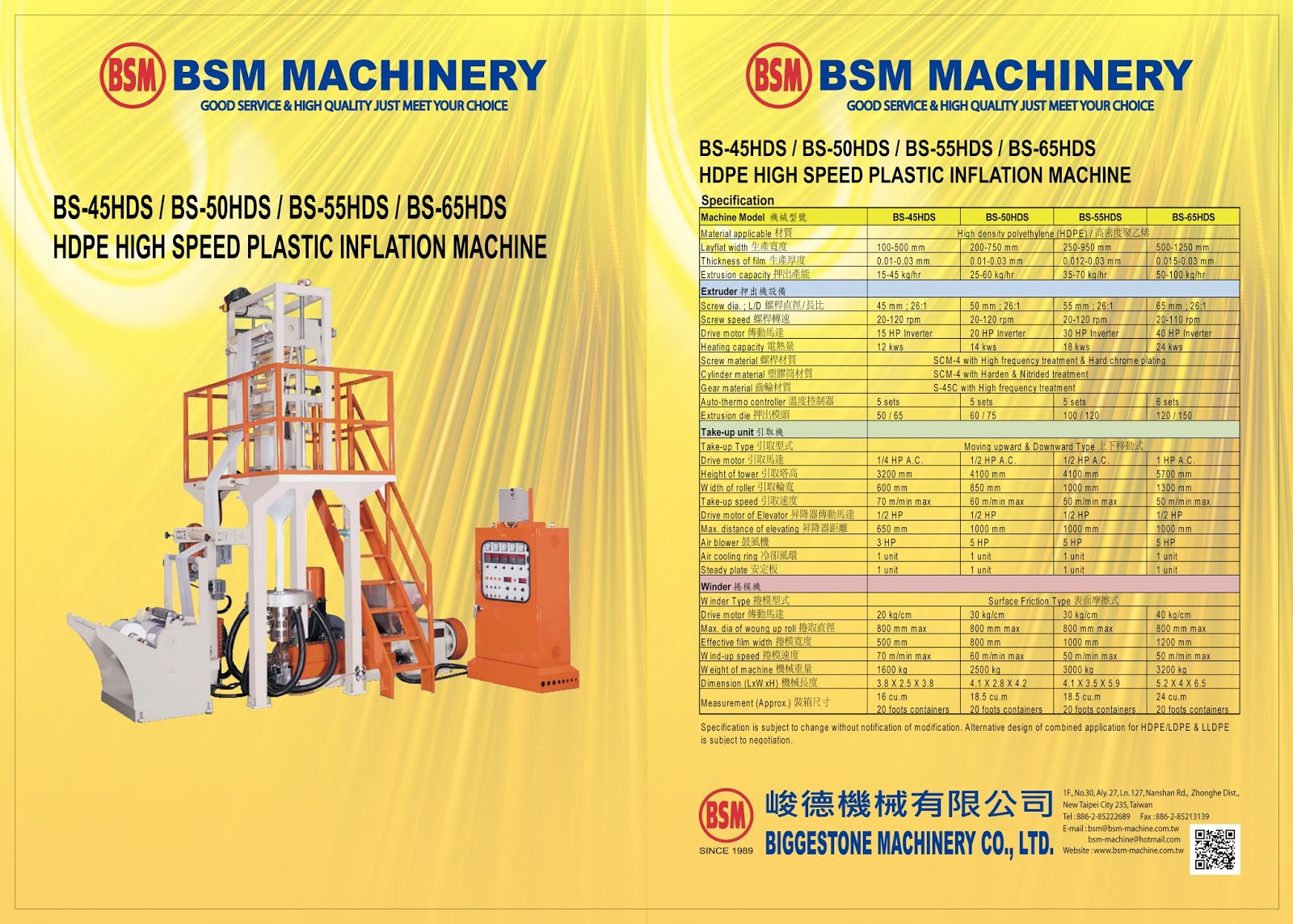 BS-45HDS / BS-50HDS / BS-55HDS / BS-65HDS  HDPE HIGH SPEED PLASTIC INFLATION MACHINE