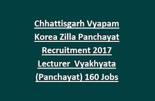 Chhattisgarh Vyapam Korea Zilla Panchayat Recruitment 2017 Lecturer  Vyakhyata (Panchayat) 160 Govt Jobs