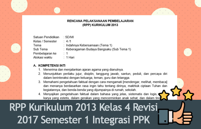 RPP Kurikulum 2013 Kelas 4 Revisi 2017 Semester 1 Integrasi PPK