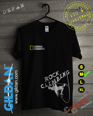 Baju Kaos National Geographic Rock Climbing Warna HITAM