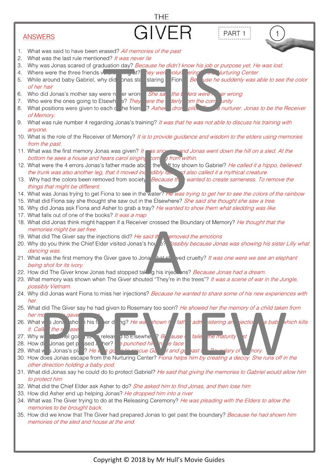 The Giver Movie Guide Activities