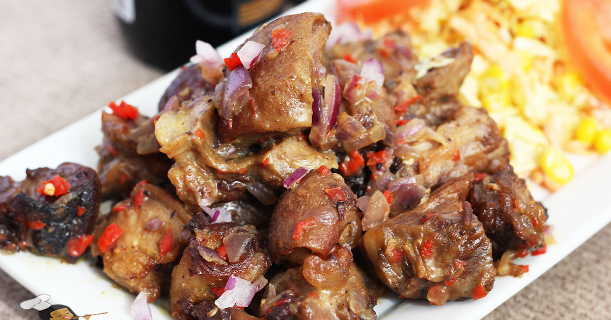 Asun Recipe ( spicy smoked peppered goat meat)