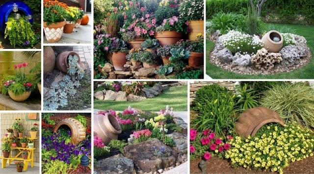 Ιδέες για κήπο-μπαλκόνι με Πήλινες γλάστρες-Πιθάρια