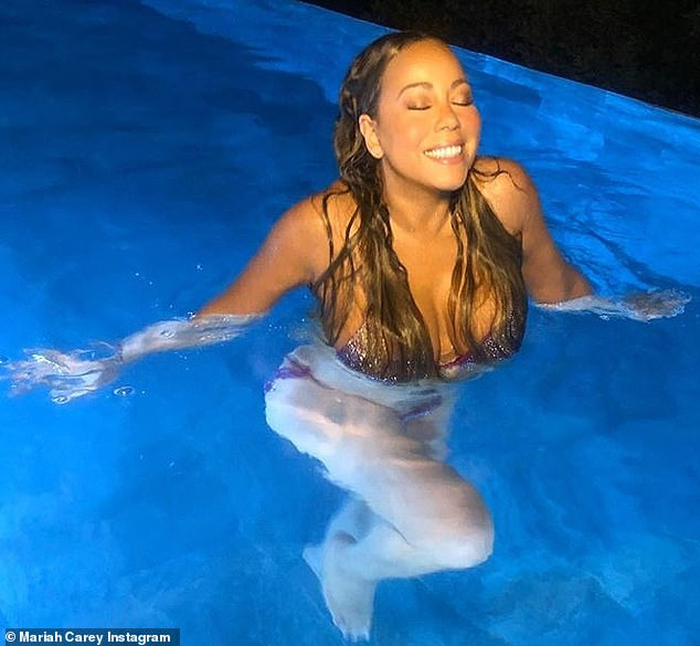 Starrlab Mariah Carey Flaunts Bikini Body In Sparkly Lavender