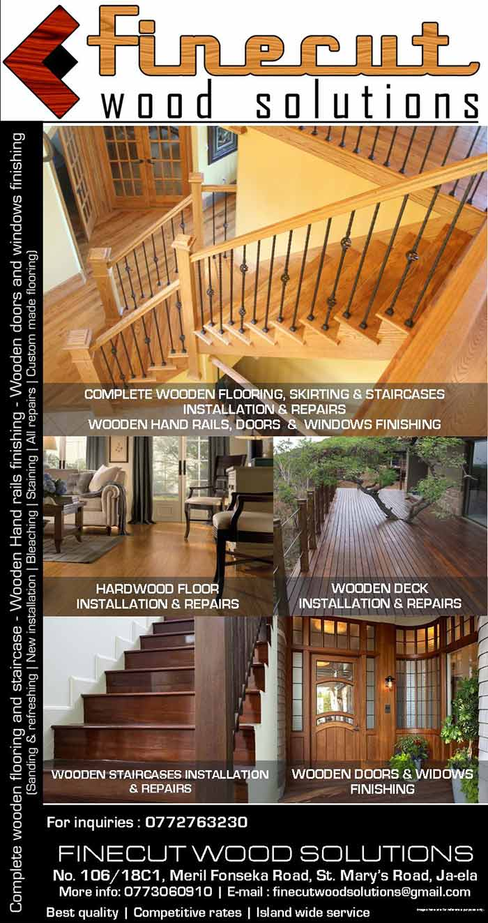 Complete wooden flooring and staircase - Wooden hand rails finishing - Wooden doors and windows finishing.