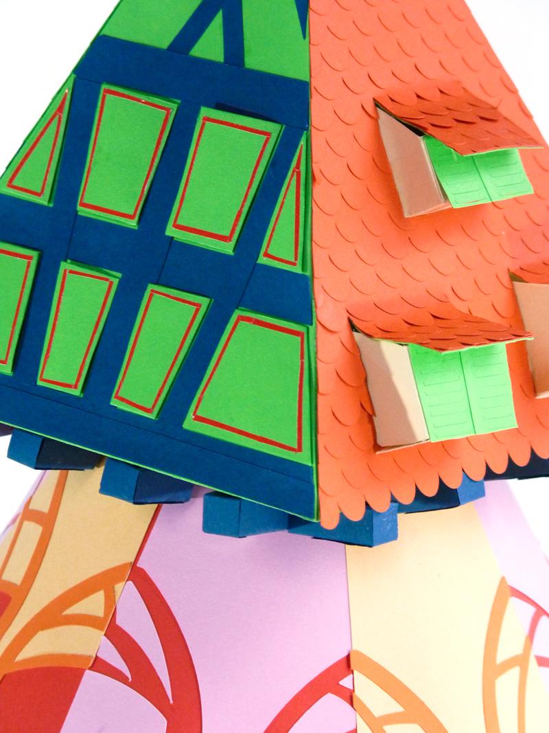 Les colombages réalisés en papier découpé représentant nos maisons Alsaciennes