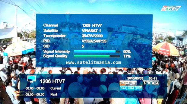 Frekuensi terbaru Channel HTV7 di satelit vinasat 1