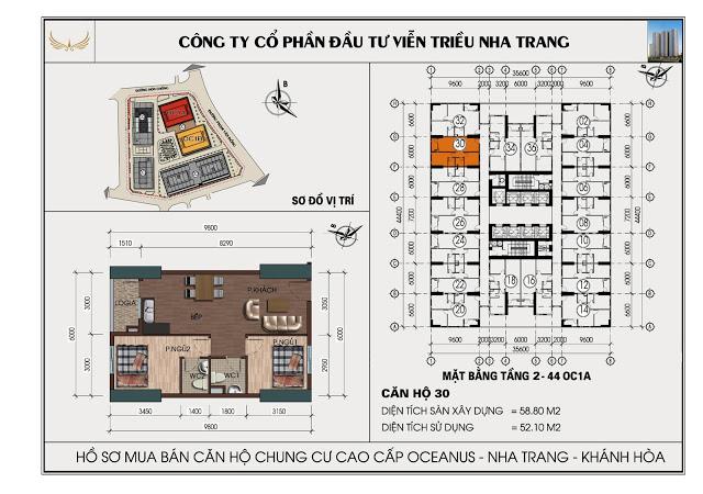 Sơ đồ căn hộ số 30  tòa OC1A Viễn Triều Nha Trang