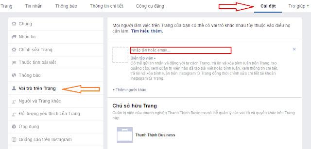 Thêm vai trò quản trị trên trang Fanpage
